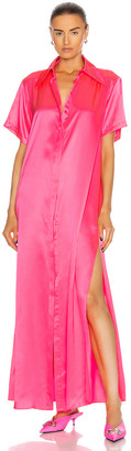 Area Silk Maxi Tunic Gown in Fluo Pink | FWRD