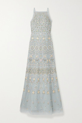 Needle & Thread Sweet Petal Embellished Embroidered Tulle Gown - Sky blue