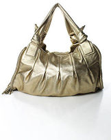 Cole Haan Gold Leather Metallic Pleated Large Dual Strap Hobo Handbag