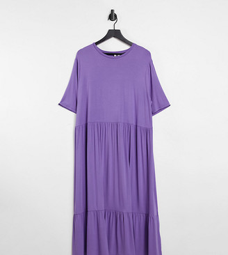 ASOS DESIGN Curve tiered smock t-shirt midi dress in purple ash