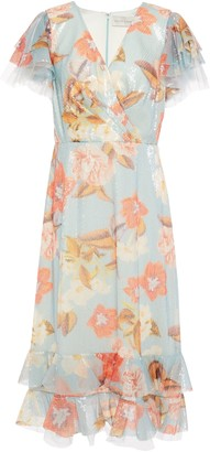 Sachin + Babi Sequined Floral-print Tulle Dress