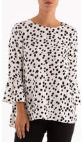 Ping Pong Dalmation Print 7/8 Bell Sleeve Top