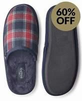 Savile Row Men's Red Navy Grey Check Mule Slippers