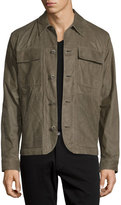 Helmut Lang Leather Utility Shirt Jacket, Olive