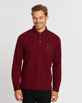 Kent And Curwen Logo Patch Long Sleeve Polo Shirt