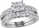 Affinity Diamond Jewelry Affinity Cluster Diamond Ring Set, 14K White Gold