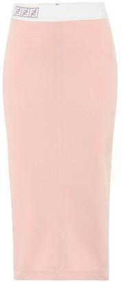 Fendi Logo-intarsia midi skirt