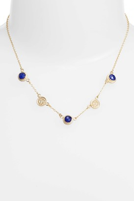 Anna Beck 18K Yellow Gold Plated Sterling Silver Round-Cut Lapis Charm Collar Necklace