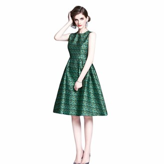 DHF Round Neck Sleeveless Fashion Jacquard mid-Length Waistband Temperament Dress (Color : Green Size : XXL)