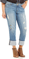 Democracy Plus 5-Pocket Embroidered Skinny Girlfriend Jeans