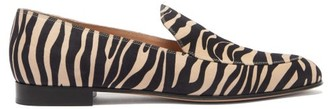Gianvito Rossi Marcel Zebra-print Suede Loafers - Black Beige