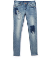 Vigoss Light Wash Patchwork Skinny Jeans - Girls