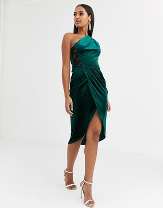 Asos Design DESIGN velvet one shoulder wrap lace back bodycon midi dress-Green