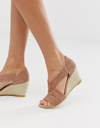 Office Maiden pink suede espadrille mid wedges