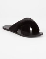 Soda Sunglasses Faux Fur Cross Womens Slide Sandals