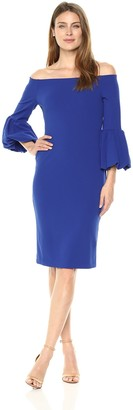 Brinker & Eliza Women's Off The Shoulder Sheath Dress with Bell Sleeves