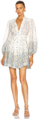 Zimmermann Carnaby Short Dress in Indigo Ditsy | FWRD