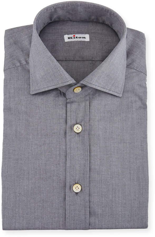 Kiton Solid Broadcloth Dress Shirt, Gray