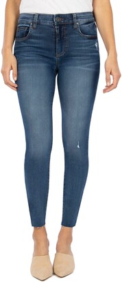 KUT from the Kloth Mia High Waist Raw Hem Skinny Jeans