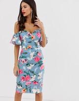 Paper Dolls bardot short sleeve floral midi dress