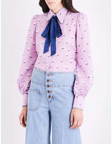 Marc Jacobs Ladies Purple Floral Button fastening Floral-Embroidered Cotton-Voile Shirt