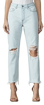 GRLFRND Mica Cropped Distressed Jeans