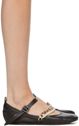 Simone Rocha Black Curb Chain and Pearl Strap Ballerina Flats