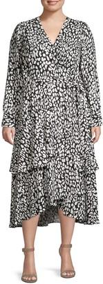 Calvin Klein Plus Printed Self-Tie Wrap Dress