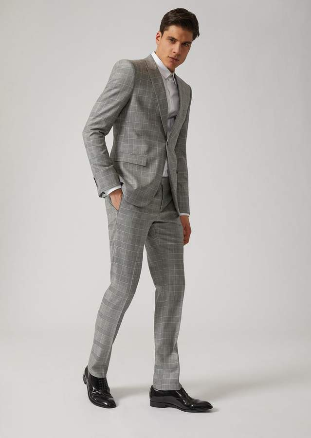 Emporio Armani Suit In Prince Of Wales Check Tropical Wool