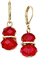 Charter Club Gold-Tone Red Faceted Stone Drop Earrings, Only at Macy's