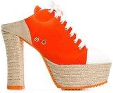Moschino jute sole sneaker mules - women - Cotton/rubber/Raffia/Leather - 35