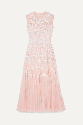 Needle & Thread Bella Embellished Tulle Midi Dress - Blush