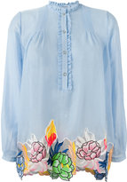 Blumarine floral motif embroidered patches top - women - Silk/Cotton - 40