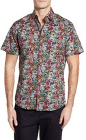 Stone Rose Men's Trim Fit Floral Print Sport Shirt