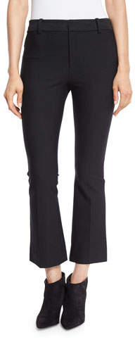 Derek Lam 10 Crosby Cropped Flare Stretch Trousers, Black