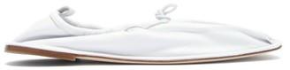 Hereu Puntera Gathered Square-toe Leather Flats - White