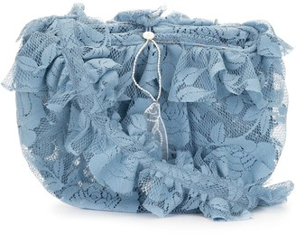 yuhan wang Ruffled Floral-Lace Crossbody Bag