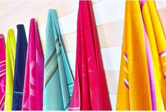 Catherine Lansfield Rainbow Beach Towel Pair Coral & Purple