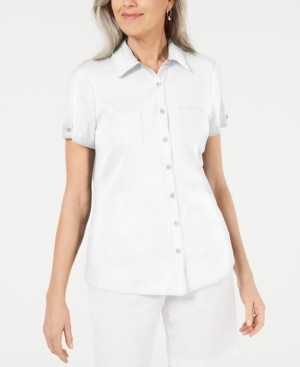 Karen Scott Cotton Piping Button Top, Created for Macy's