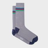 Paul Smith Men's 'Cycle Stripe' Trim Grey Ribbed Socks