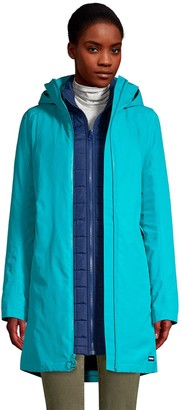 Lands' End Women's Squall 3 in 1 Waterproof Winter Long Coat with Hood