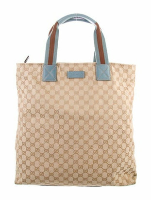 Gucci GG Canvas Medium Web Tote Brown