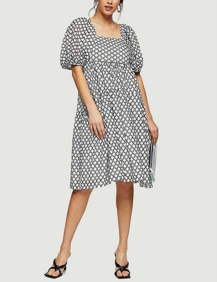 Topshop Graphic-print puff-sleeve cotton midi dress
