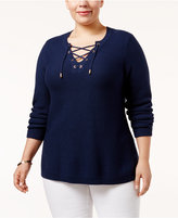 Charter Club Plus Size Lace-Up Sweater, Only at Macy's