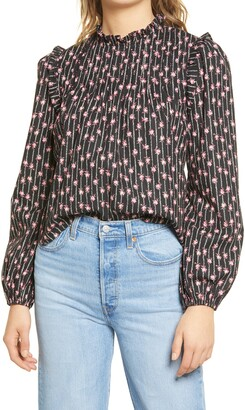 WAYF Linford Floral Pintuck Blouse