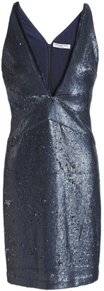 Halston Sequined Knitted Mini Dress