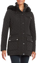 Calvin Klein Faux Fur-Trimmed Quilted Coat