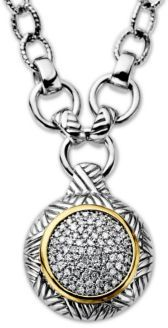 Lord & Taylor Sterling Silver with 14Kt. Yellow Gold Diamond Pendant Necklace