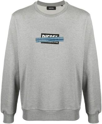 Diesel Logo-Print Crew Neck Sweatshirt