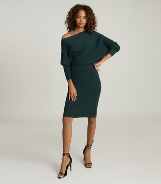 Reiss LARA OFF-THE-SHOULDER KNITTED DRESS Green